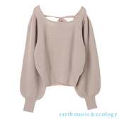 「Hot item」後綁帶方領蓬袖針織衫 - earth music&ecology