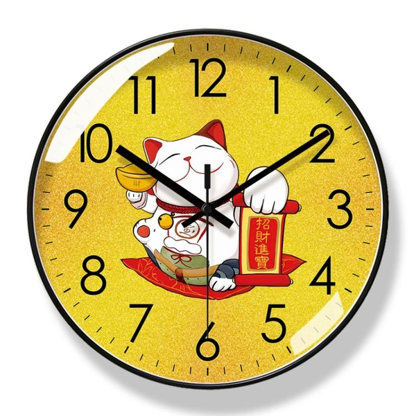 易普拉6058萌寵可愛招財貓掛鐘卡通鐘錶靜音準時