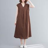 棉麻V領襯衫領寬鬆版洋裝-中大尺碼 獨具衣格 J3081