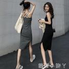 內搭打底小黑裙女春秋開叉長裙春裝2021年新款女裝長款吊帶洋裝 蘿莉新品