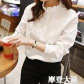 秋裝新款韓版休閒打底衫白襯衫 女花邊立領大碼女士襯衣純棉上衣『摩登大道』