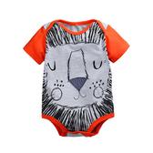 獅子 全棉印花短袖連身包屁衣 短袖 信封領 橘魔法Baby magic  現貨 兒童 童裝