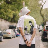 短袖T恤 夏季美式潮男士印花短袖T恤衫日系休閒寬鬆情侶上衣男T