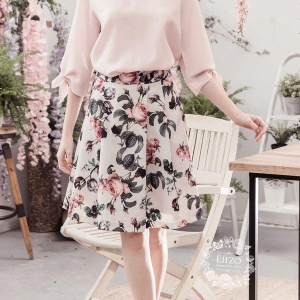 【EIIZO】質感玫瑰印花圓裙(白)
