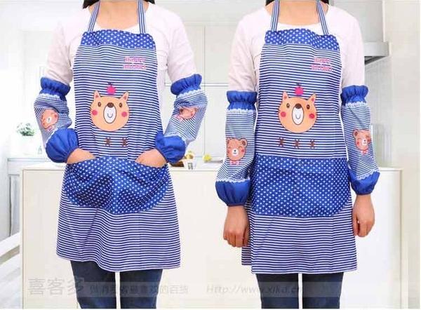 <特價出清>卡通圍裙+袖套二件組 廚房防油 幼兒園【AE02689】i-Style居家生活