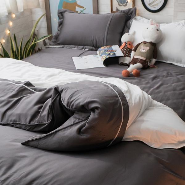 天絲床組 極簡白鐵灰 DPM4雙人鋪棉床包鋪棉兩用被四件組(60支) 100%天絲 棉床本舖 素色系列