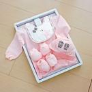 GMP BABY台灣製條紋星兔兩用兔裝 粉 彌月禮盒1組
