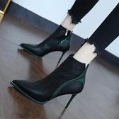 裸靴 馬丁靴女秋潮英倫風2020新款氣質百搭短筒尖頭高跟鞋性感細跟短靴 降價兩天