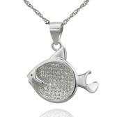 項鍊 925純銀鑲鑽吊墜-可愛小魚生日情人節禮物女飾品73dk288[時尚巴黎]