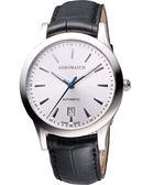 AEROWATCH 簡約紳士時尚機械腕錶-銀 A60947AA01