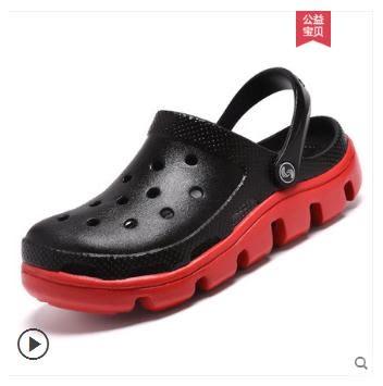洞洞鞋潮沙灘鞋涼拖鞋防滑軟底半拖鞋外穿潮流包頭涼鞋大頭拖鞋男【熱賣新品】