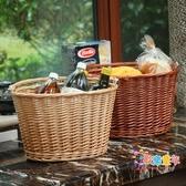 野餐籃 購物籃藤編野餐籃柳編手提籃竹籃子水果籃禮品籃菜籃子T 2色