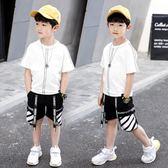 男童套裝2019新款夏天6夏季7帥氣8運動短袖10男孩12歲潮TA7544【極致男人】