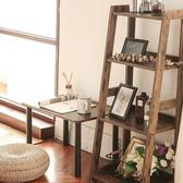 樂嫚妮 四層收納架 層架 書架 層櫃 A字收納-仿木日式木質層架-窄版仿木