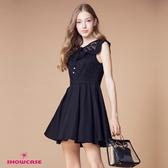 【SHOWCASE】甜美星星蕾絲小折領無袖俏麗小洋裝(黑)