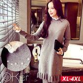 韓系珍珠裝飾荷葉邊針織洋裝 O-ker歐珂兒 157072-C