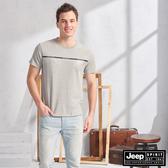 【JEEP】簡約圖騰吸濕排汗短袖TEE(灰色)