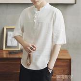 中國風棉麻衣t恤男裝唐裝中式短袖盤扣中袖半截袖大碼亞麻夏寬鬆『潮流世家』