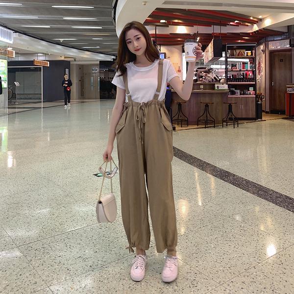 超殺29折 韓國風寬鬆慵懶吊帶褲背帶褲寬鬆單品連身褲