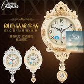 掛鐘20英寸歐式復古搖擺掛鐘客廳簡約時尚掛錶臥室靜音石英鐘錶wy