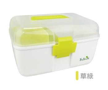 Fullicon護立康-馬卡龍配色雙層家庭保健醫藥箱/藥物收納箱/急救箱-草綠色