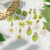 耳環牛油果綠花朵耳釘清新可愛少女心適合夏天的冷淡風純銀針耳環耳飾 新品來襲