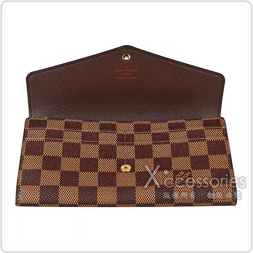 LV N63208 SARAH棋盤格LOGO Damier Ebène帆布16卡扣式長夾(炭褐)