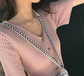 秋裝2018新款原宿V領針織短袖女開衫 挪威森林
