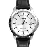CASIO手錶 銀面刻度日期皮革錶NECK3