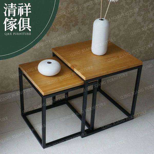 【清祥傢俱】LLT-05LT06-美式工業LOFT鐵藝茶几組 工業風邊桌 花架 實木桌
