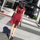 女裝春裝潮韓版V領沙灘裙海邊度假泰國巴厘島顯瘦洋裝 『CR水晶鞋坊』