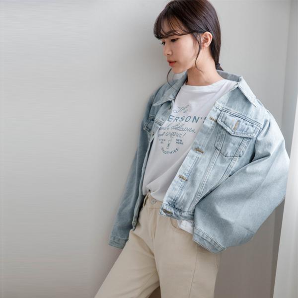 MIUSTAR 精緻玫瑰金釘釦造型大寬袖牛仔外套(共1色)【NH0713】預購