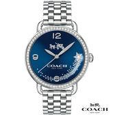 【僾瑪精品】COACH Delancey 藍色星戀 閃閃晶鑽腕錶-藍/28mm/14502693