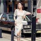 洋裝蕾絲鏤空方領連身裙S-XL法式復古方領高端鏤空蕾絲裙連身裙氣質9302 3F-350-C 韓依紡