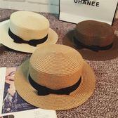 春夏韓版草帽英倫復古歐美蝴蝶結平頂小禮帽遮陽防曬沙灘帽子潮