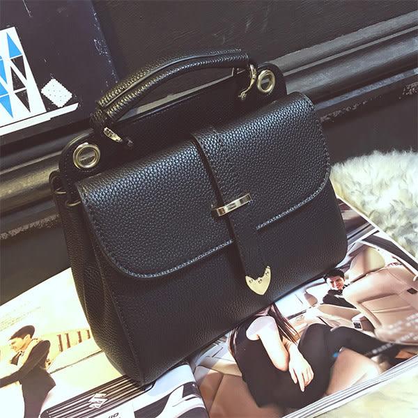 *UOU精品*韓國時尚款荔枝紋小方包手提包簡約百搭單肩包女包(附斜背帶)。4色【T105】