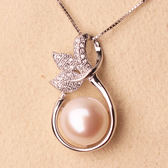【春季上新】天然淡水珍珠吊墜項墜項錬 925純銀11-12mm扁圓 強光送女朋友禮物