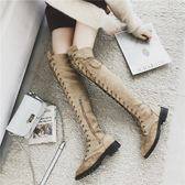 膝上靴 過膝長靴2018秋冬新款馬丁靴英倫風長筒瘦瘦靴子