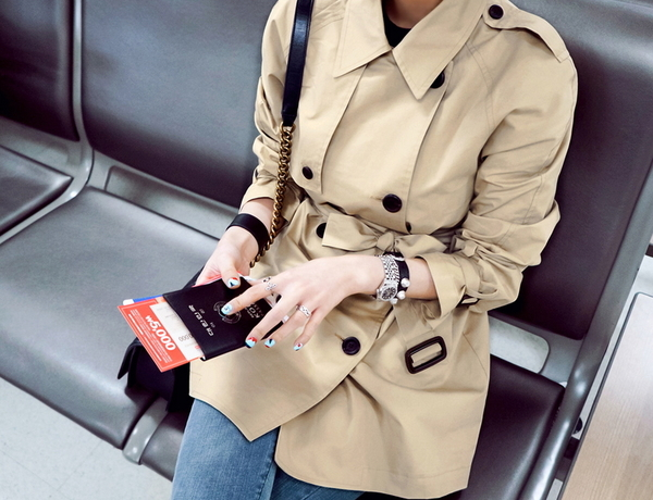 短大衣 氣質百搭雙排釦修身綁腰風衣外套S~2XL 艾爾莎【TAE5579】