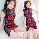 旗袍 XS 小尺寸制服 背後性感薄紗連身裙 紅黑旗袍 斜裙擺古典旗袍- 愛衣朵拉