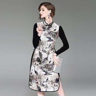 洋裝-長袖中國風印花拼接網紗女連身裙73of47【巴黎精品】