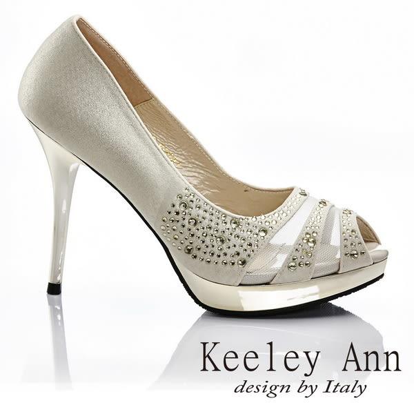 ★零碼出清★Keeley Ann 異國衝擊~品味水鑽透膚性感魚口高跟鞋(金色)
