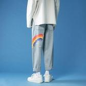 牛仔長褲男潮牌直筒寬鬆彩虹褲子男生潮流百搭新款時尚淺色九分褲