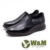 W&M 氣墊舒適 休閒款男皮鞋-黑
