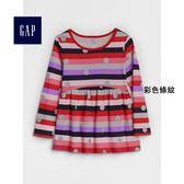 Gap女嬰幼童 拼接圓領插肩長袖T恤 356639-彩色條紋