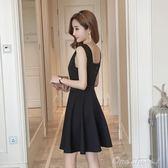夏季新款女裝韓版修身顯瘦V領無袖背心洋裝a字裙赫本小黑裙 父親節促銷