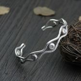 純銀手環(泰銀)-做舊鏤空生日情人節禮物女手鐲73gg90[時尚巴黎]