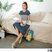 《DA7613》台灣製造.高含棉配色休閒條紋長洋裝--適 2L~6L OrangeBear