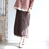 正韓 刺繡蕾絲擺雙層長裙 (BKKQ) 預購