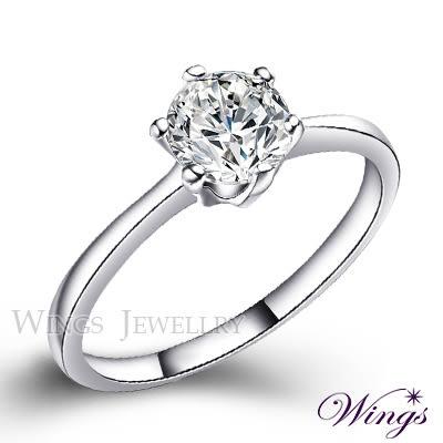 Wings 經典六爪鑲 八心八箭方晶鋯石美鑽 單鑽 戒指 女戒
